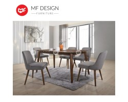 MF DESIGN Zymic Dining Set (1 Table + 6 Chairs) - Scandinavian Style [Full Solid Wood]